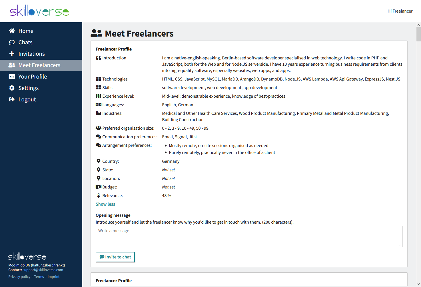 Screenshot showing Meet Freelancers capability of Skilloverse